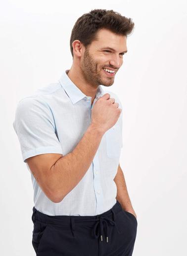 DeFacto Regular Fit Tek Cepli Gömlek Mavi